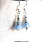 Light blue frosted tulip earrings drop acrylic blue flower earrings silver crystal and surgical steel french hooks bright silver accents