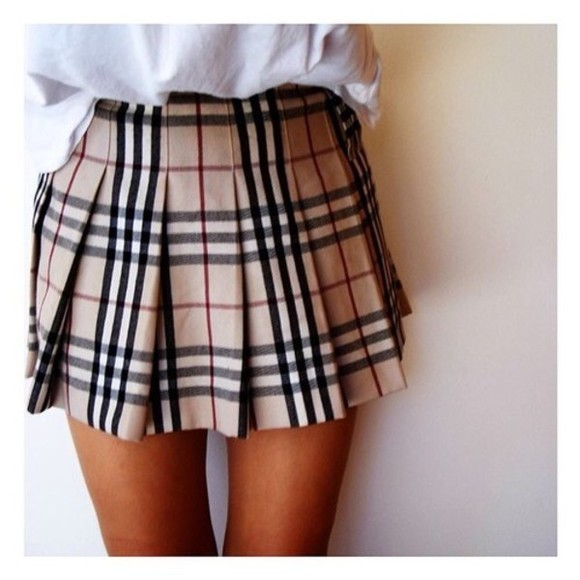 burberry skirt red short black brown bez stripes