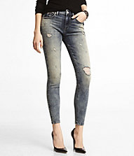 MID RISE DESTROYED ANKLE JEAN LEGGING | Express