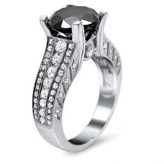 jewels round black and white diamond engagement ring big round black diamond ring 2015 new fashion black diamond ring big round cut black diamond engagement ring with white round diamond side stones evolees.com