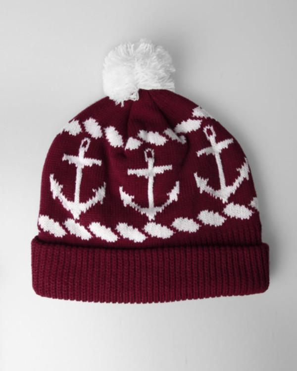 hat burgundy white anchor beanie