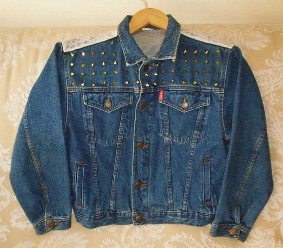 90's vintage handmade studded blue denim jacket with by chicutopia