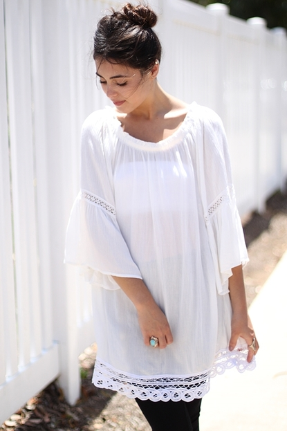 Bell sleeved laced tunic