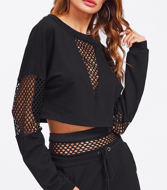 sweater girly black mesh mesh top crop tops crop cropped cropped sweater shorts two-piece