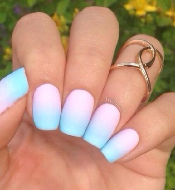 Pink And Blue Nail Polish: Nail Polish, Powder, Light Blue, Powder Pink