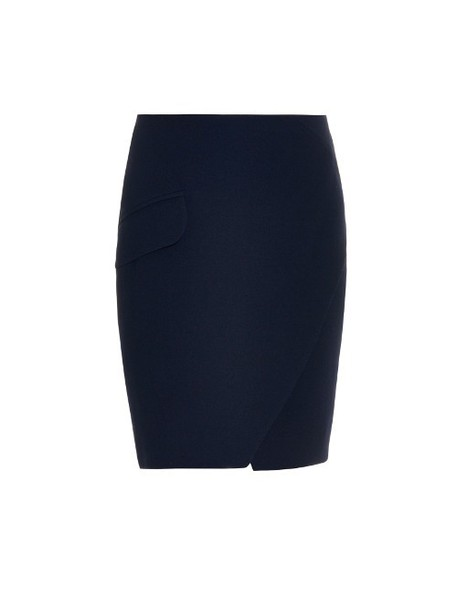 98447757c2 CARVEN Wrap-front wool-blend skirt in navy - Wheretoget