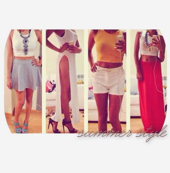 tank top yellow skirt dress white blue red shorts