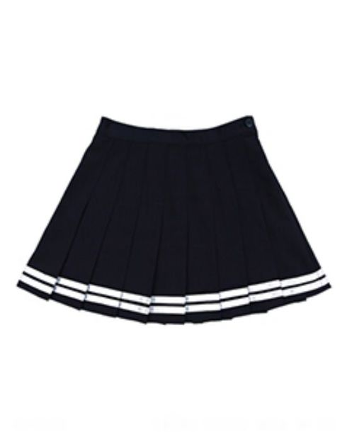 Skirt: black with white stripes across, black, white stripes ...