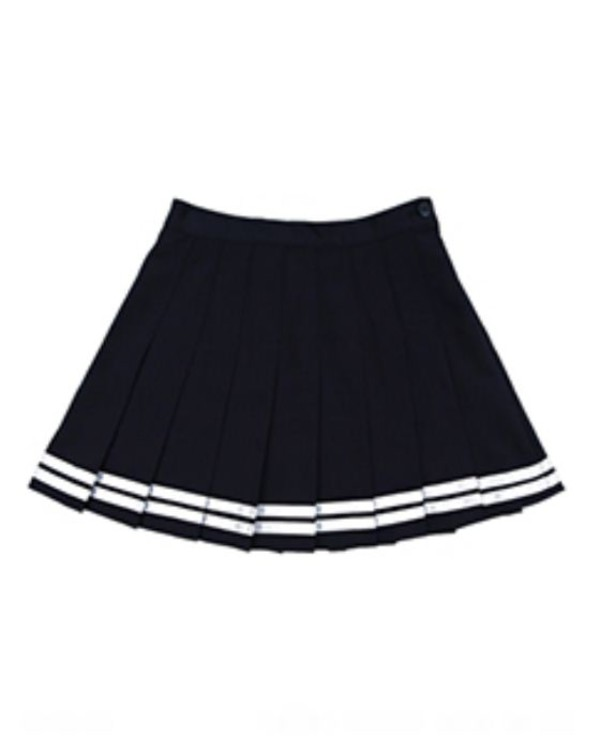 skirt black with white stripes across black white stripes. pleated skirt preppy