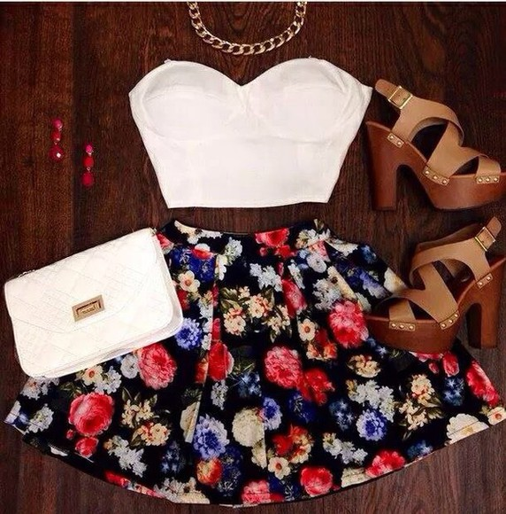 skirt short skirt floral skirt blouse shoes black flower skater skirt jewels bag