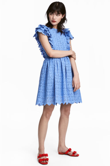 Dress with broderie anglaise - Blue - Ladies | H&M GB