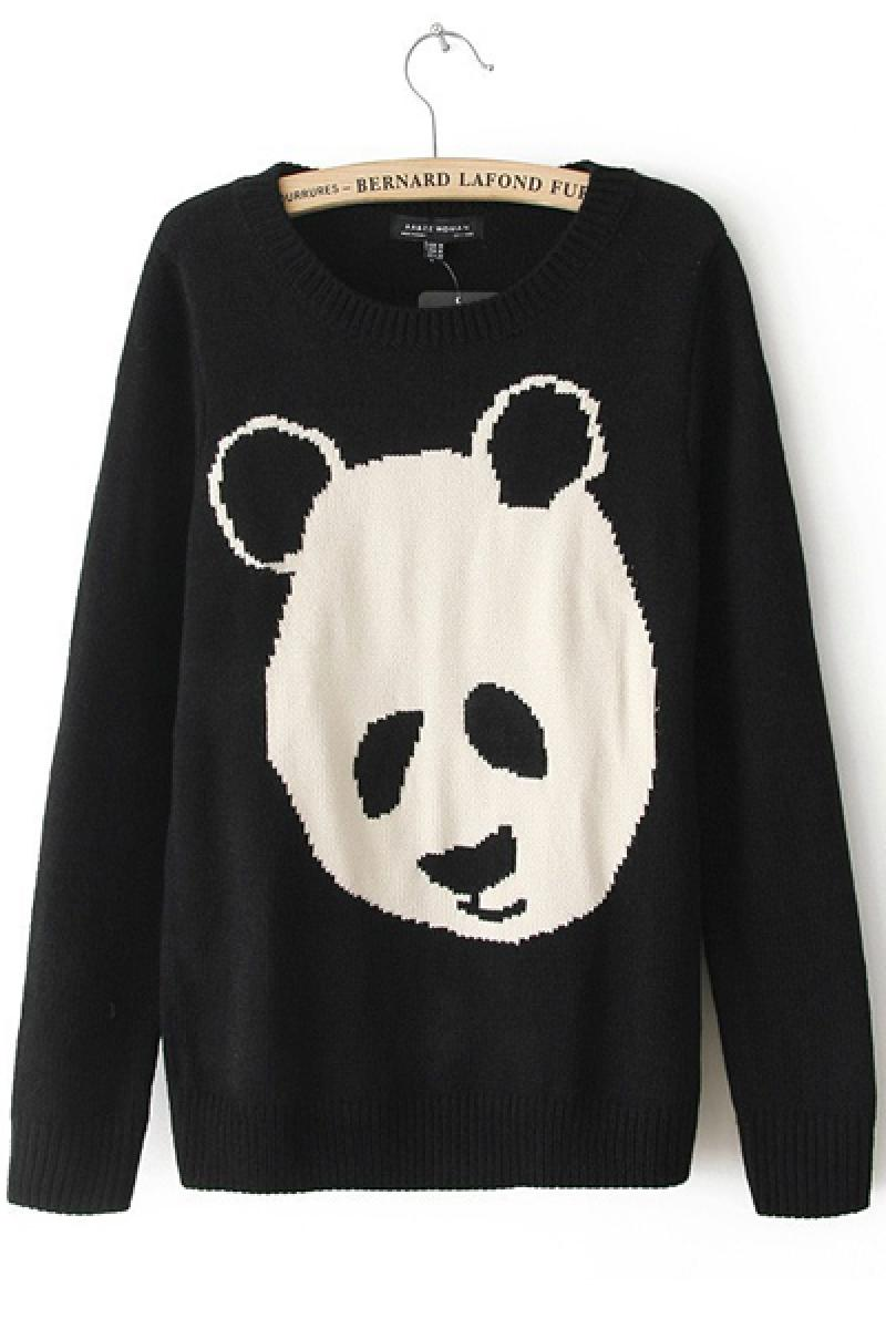 Fashion Round Neck Long Sleeve Panda Printing Sweater,Cheap in Wendybox.com