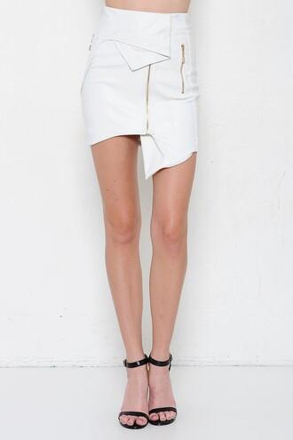 skirt white skirt white leather skirt leather skirt asymmetrical skirt white asymmetrical skirt