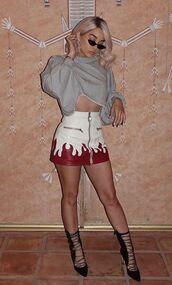 skirt,jasmine sanders,model off-duty,mini skirt,leather skirt,sweatshirt,cropped,crop tops,coachella,festival,music festival,instagram