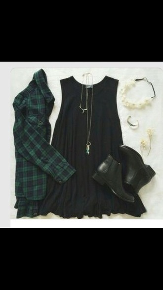 dress hipster grunge indie tumblr outfit shoes flannel shirt jewels flowers