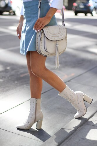 shoes tumblr boots white boots high heels boots thick heel boots thick heel embellished skirt mini skirt blue skirt bag white bag tassel