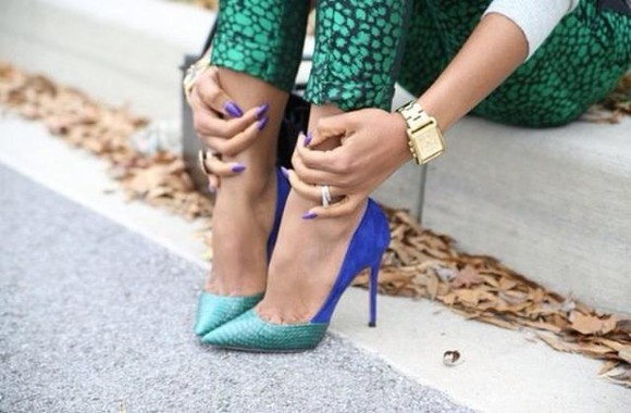 green high heels shoes sandals sexy blue pointed violet