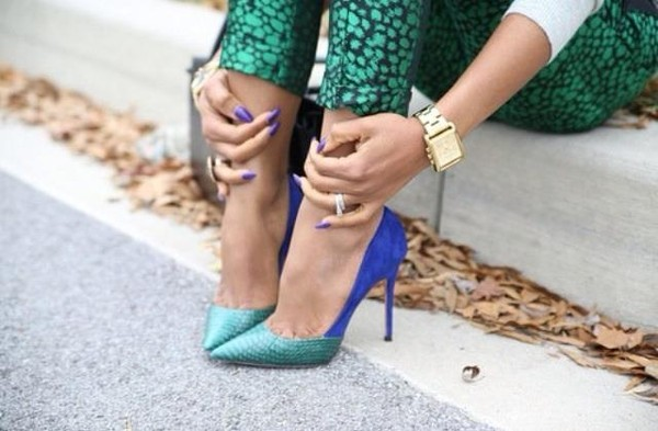 shoes blue green heels pointed toe violet sexy sandals high heels