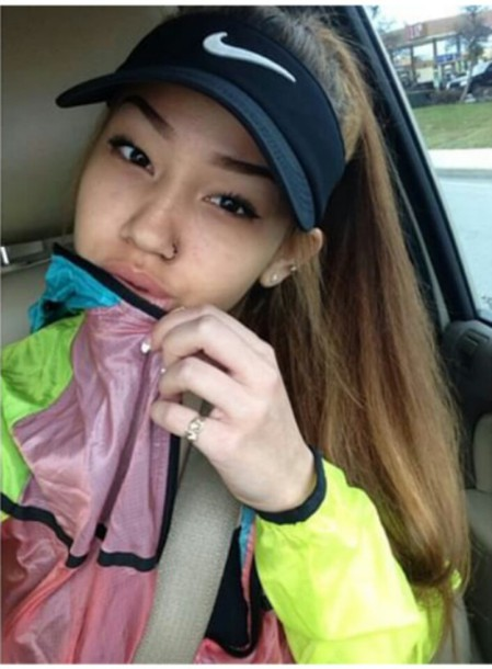 jacket clothes windbreaker colorblock nike visor nike jacket nike visor asian tumblr tumblr outfit instagram make-up hair nails accessories