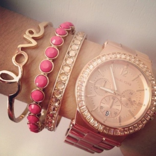 jewels bangle bracelets gold pink