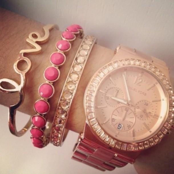 jewels bracelets gold pink