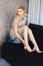 shoes,pumps,chloe grace moretz,editorial,dress,see through dress,lace dress
