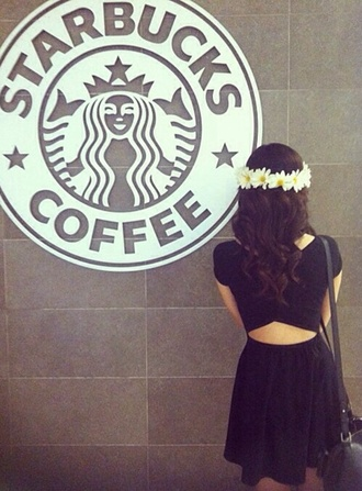 dress black cute summer summer dress black dress little black dress daisy flower headband flower crown starbucks coffee hat black dress crossed in the back