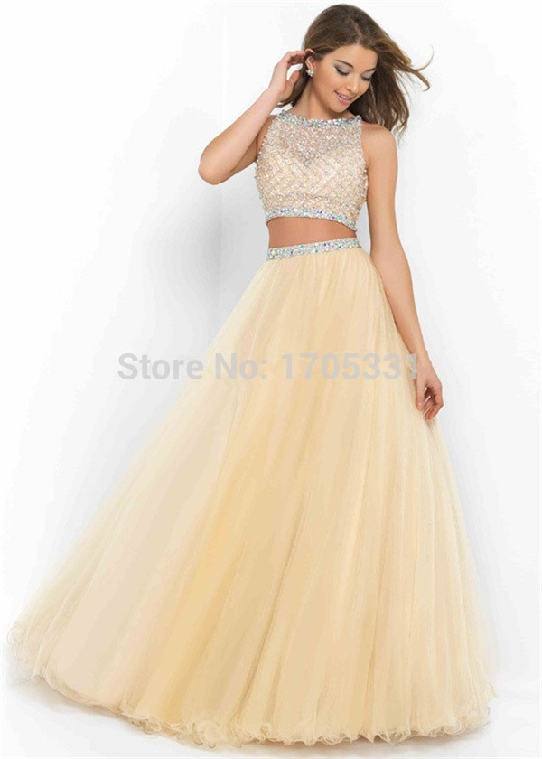 a5c21e7d2ad6 2015 New Arrival Floor Length Champagne Tulle Beaded Long Elegant Two  Pieces Prom Dress Top Low Price ...