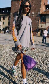 sweater,sweatshirt,milan fashion week 2017,streetstyle,skirt