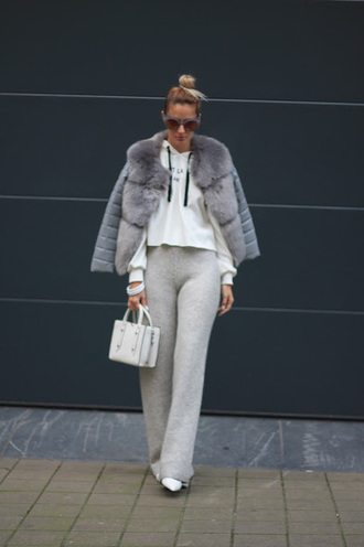 from brussels with love blogger sweater pants shoes bag jacket fur jacket winter outfits white bag