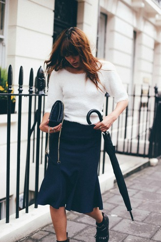 natalie off duty blogger top skirt bag shoes midi skirt ankle boots spring outfits fall outfits