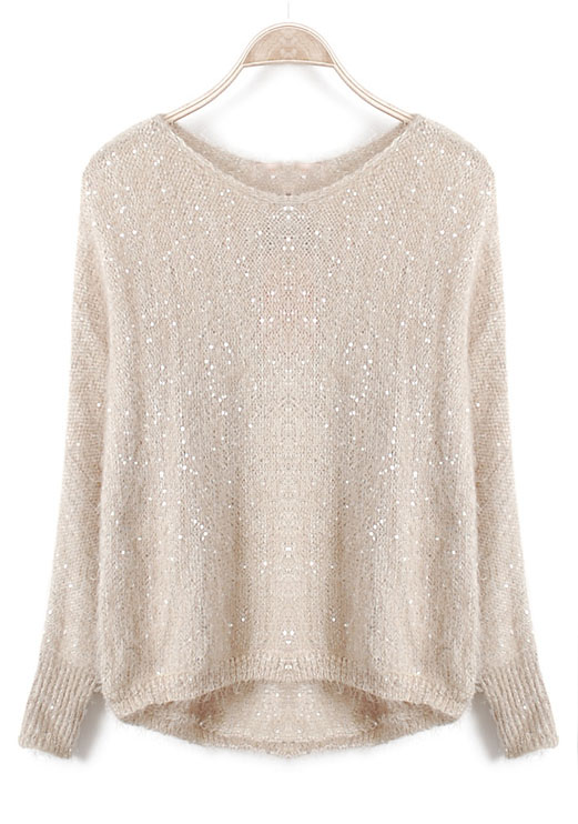 Beige Long Sleeve Sequined Loose Batwing Sweater - Sheinside.com