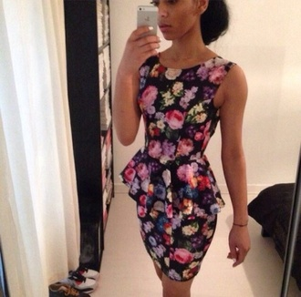 Black Floral Peplum Dress
