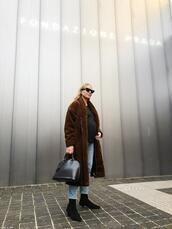 trini,blogger,sunglasses,sweater,jeans,coat,shoes,bag,jewels,faux fur coat,winter outfits