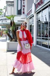 dress,bag,white bag,shoes,long dress,sunglasses,white sunglasses