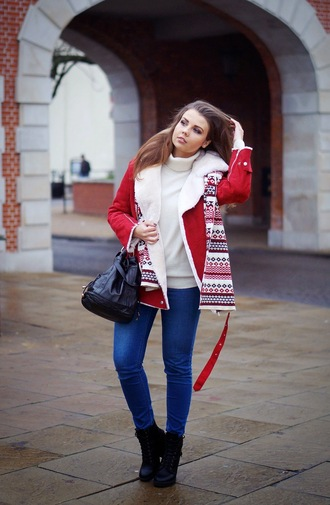 red coat jeans bag blogger a piece of anna christmas turtleneck