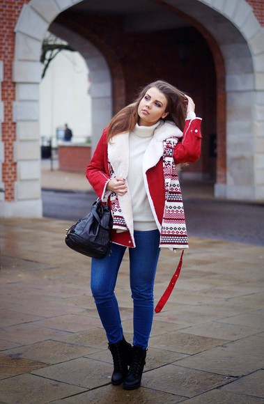 blogger jeans bag a piece of anna christmas red coat turtleneck