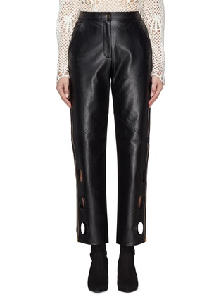 self-portrait   Cutout cuff zip outseam faux leather pants   Women   Lane Crawford - Shop Designer Brands Online