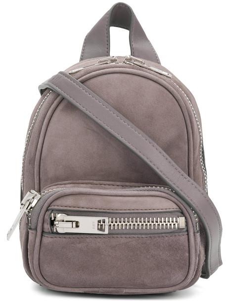 mini women backpack mini backpack leather suede grey bag