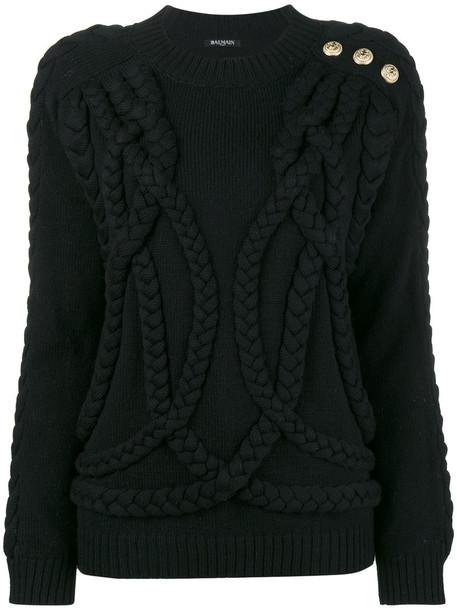 Balmain jumper women black wool knit sweater