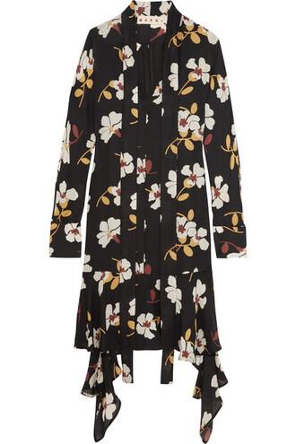 dress midi dress midi floral print black silk
