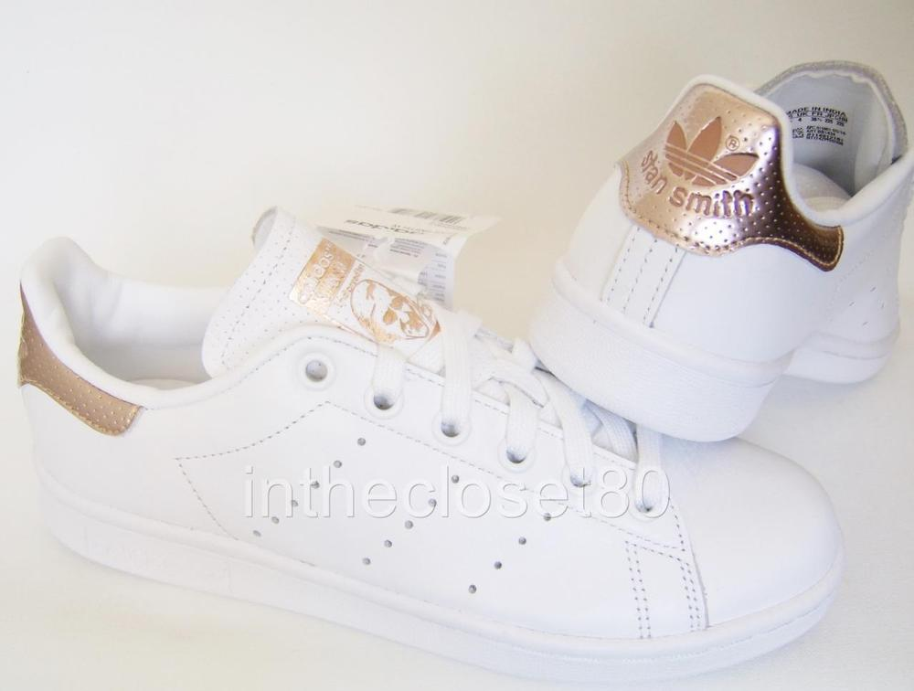 san francisco 96e3b 76584 Adidas Stan Smith White Rose Gold Metallic Womens Girls Trainers BB1434