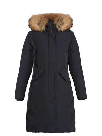 parka fur luxury navy coat