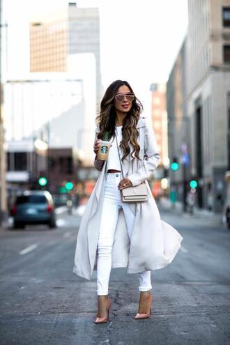 maria vizuete mia mia mine blogger coat top jeans shoes sunglasses bag