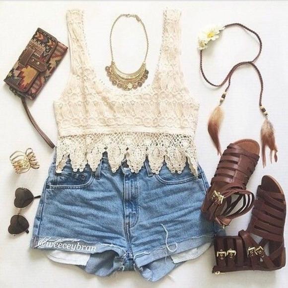 shorts top hippie crop tops t-shirt sunglasses aztec blue shorts shoes