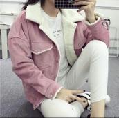 jacket,girly,pink,corduroy,corduroy collar jacket,fur,fur jacket,faux fur,faux fur jacket