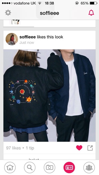coat jacket vintage science stars design tumblr bomber jacket black crop grunge sun planets