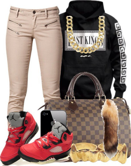 chain jewels shoes red bag black sweater jordans last kings