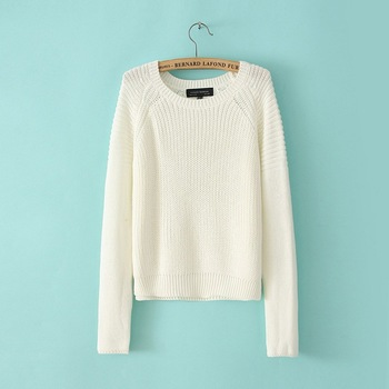 2014 new arrival casual women sweater solid white color long sleeve fashion sweater for woman 0437-in Pullovers from Apparel & Accessories on Aliexpress.com