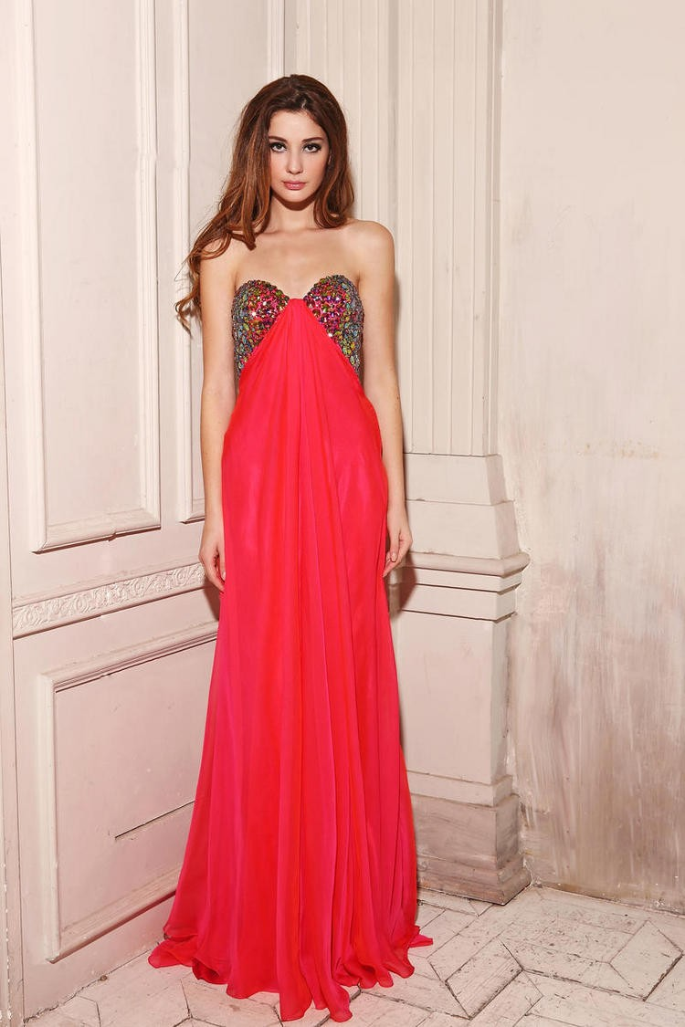 Princess Sweetheart Sweep Train Red Chiffon Evening Dress Adoaa0010 - Evening Dresses - Special Occasion Dresses